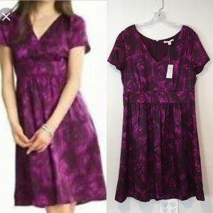 Banana Republic | NWT purple silk floral dress 14